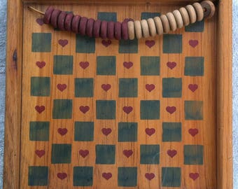 Handmade Checkerboard and checkers, wall hanging