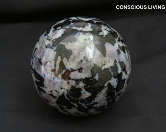 Gabbro and Moonstone Crystal Sphere 58 mm-  Madagascar Chakra, Reiki, Feng Shui, Space Clearing