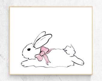 Bunny Rabbit Minimalist Watercolour Fine Art Print, Girls Woodlands Nursery, Wall Poster Decor, Baby Animal Printable Digital Download