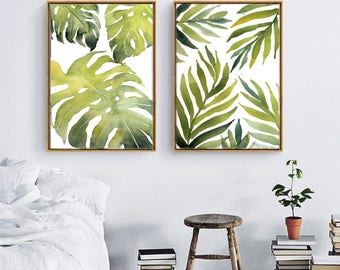 Tropical Palm Leaves Print, Contemporary Art, Kitchen Decor, Leaf Print, Printable Green Lush Artwork Wall Poster, Digital Download