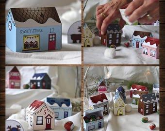 Paper Advent Christmas Village, Advent Calendar, Downloadable Advent, Christmas Craft Advent, Paper Village, Advent Calendar,Advent template
