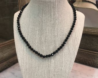 Sterling Silver Black Glass Beaded Necklace