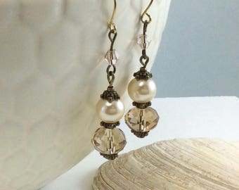 Cafe au lait Coffee Coloured  Czech Crystal  Glass Pearl Drop/Dangle Earrings with 18kt gold plate wires