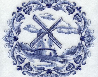 Delft Blue Windmill in Medallion (8 x 8) Iron-on Patch // Iron on Patch // Embroidered Patch // MADE TO ORDER