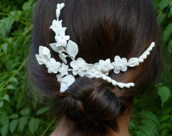 With white flowers bridal headpiece, handmade cold porcelain, bridal headpiece