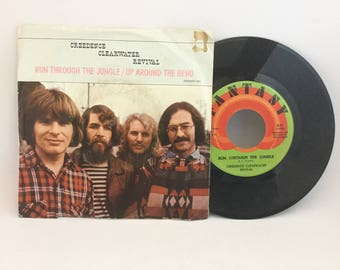 "Creedence Clearwater Revival ""Run Through The Jungle"" & ""Up Around The Bend"" Original Recording 45 RPM Fantasy Label with Picture Sleeve"