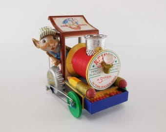 1988 Enesco Merry Christmas Engine Christmas Ornament / Mouse Conductor in Train of Odds and Ends / M Gilmore Design