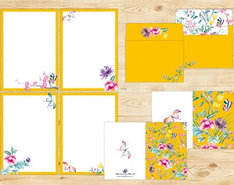 Printable Chinese Floral Stationery Set INSTANT DOWNLOAD