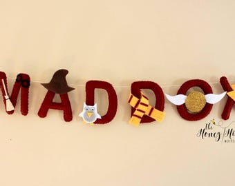 Felt name banner, wizard nursery, Harry Potter baby, nursery decor, harry potter decor, baby Harry Potter, hanging name banner, custom gift