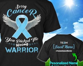 Personalized Prostate Cancer Awareness Tshirt Light Blue Ribbon Warrior Support Survivor Custom T-shirt Apparel Unisex Women Youth Kids Tee