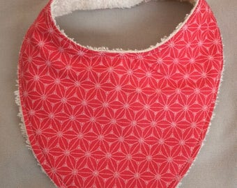 Red cotton bandana bib is lined with the coming beige sponge