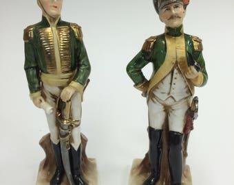 "Pair of Porcelain Figurines Capodimonte Figurine ""Soldier Hussar""-anni ' 50-Rare-perfect-Porcelain Soldier"
