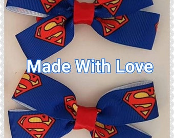 Superman hair bows