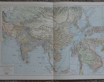 1895 - Asia Map - Original Antique Map - Large Map - Vintage China Map - Antique India Map - Hindoustan Map - Antique Mongolia Map -Map Art
