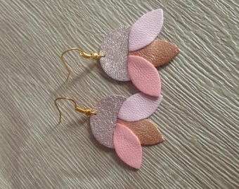 Leather pink and gold Lotus Flower earring