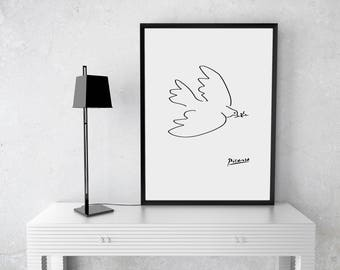 Picasso Poster, Dove of Peace Picasso, Picasso Printable, Minimalist Print, Minimalist Poster, Modern Minimalist Print, Minimal Art