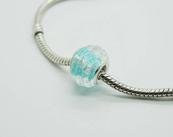 SET of 3 bead spacer blue glittered (P48) pandora style
