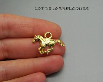 Set of 10 charms (A65) Gold riding horse