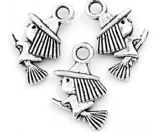set of 10 charms minimalist witch broom halloween magic Silver (D22)