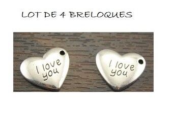 """SET of 4 heart charm engraved """"I love you"""" """"I love you"""" silver plated (A21)"""