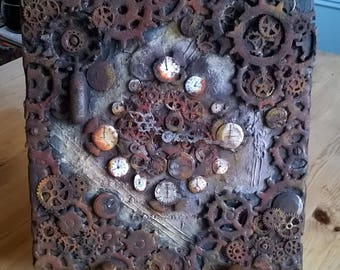steampunk clock, wall art, mixed media, cogs clockwork,