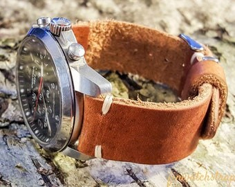 Horween leather watch strap, English Tan color, handmade in Finland - 16mm, 18mm, 20mm, 22mm, 24mm.
