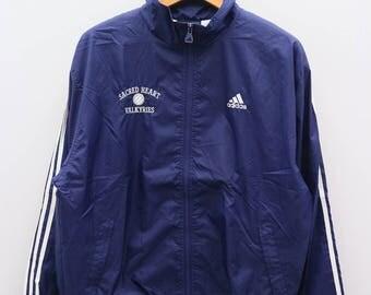 Vintage ADIDAS Treline Sportswear Sacred Heart Valkyries Blue Zipper Windbreaker Size M