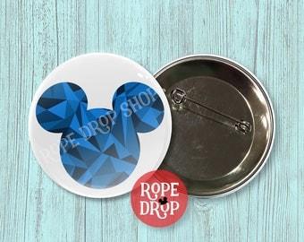 "Blue Geometric Mickey Mouse Icon - Disney Button - 2.25"""