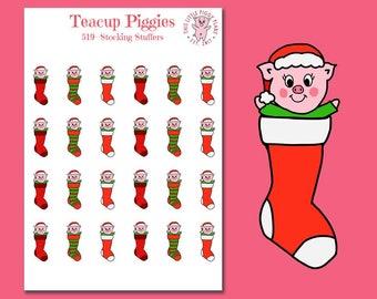 Teacup Piggies - Stocking Stuffer Oinkers - Mini Planner Stickers - Christmas Stickers - Stockings - Stocking Stuffers - Holiday - [519]