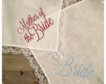 Wedding Day Embroidered Handkerchiefs (18 options)