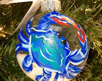 Blue Crab Hand Painted Sand Ornament - Holiday, Gift, Painted Ornament,  Ocean, Vacation, Nautical, Coastal Gift, Beach Coastal, Sunset