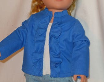 Ruffled front jacket made to fit like American Girl doll clothes, AG doll clothes, 18 inch doll clothes doll jacket, doll blouse, ruffled