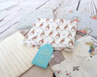 Peter Rabbit Fabric, Peter Rabbit Fat Quarter, Beatrix Potter fabric, grey fabric, Fat Quarter pack, childrens fat quarter bundle