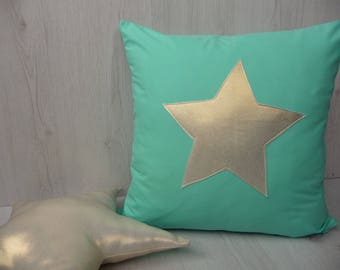 """Mint pillow cover with gold star,pillow cover nursery decor,pillow,decorative pillow cover,20""""/20""""pillow cover"""