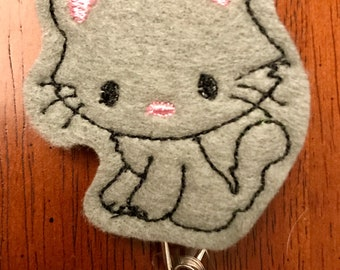 Gray Kitten Cat Retractble Reel Badge Holder