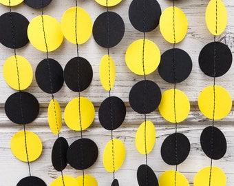 Yellow garland, Black garland, Bee garland, Yellow wedding garland, Black party decorations, Black birthday garland, Yellow bridal shower
