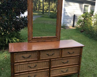 Vintage Dixie Rattan Faux Bamboo Dresser and Mirror