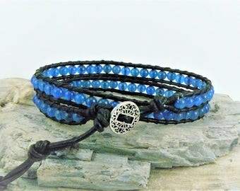Blue Agate Beaded Wrap Bracelet, Leather Wrap Bracelet, Gemstone Bracelet, Bohemian Boho Jewelry, Beaded Leather, Blue Agate Bracelet