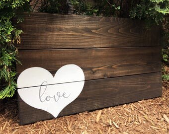 Simple Heart Guest Book with Custom Text in Heart | Wood Guest Book Alternative | White on Wood