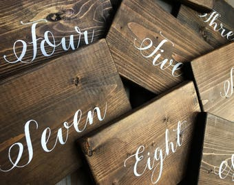 Rustic Wood Table Numbers | White on Wood | Ready To Ship | Discounted Price | Must Take All 25