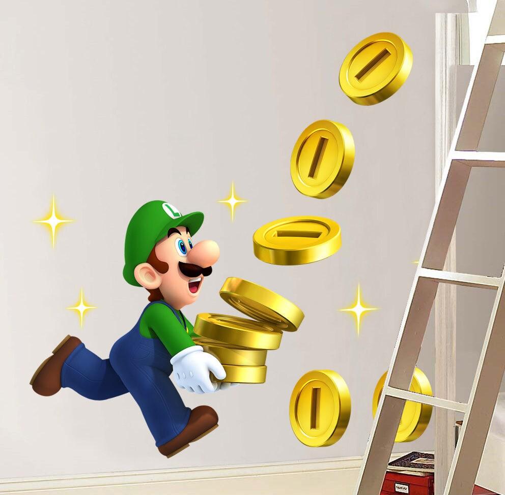 Luigi Collects Coins Super Mario Bros Decal Removable WALL STICKER ...