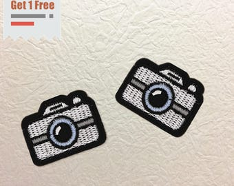 Camera Iron on Patch, Camera Embroidered Patch- Size 1.65'' W x 1.26'' H