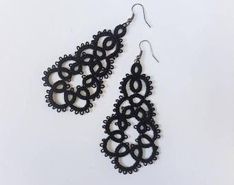 lace earrings tatted earrings black earrings
