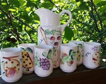 Vintage Juice Set Pitcher & Cups Made in Japan
