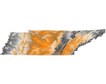 Tennessee Topographic Map in Orange and Gray