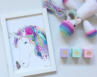 BOHO floral unicorn watercolour art print A4