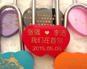 double Heart shape lock, custom engrave lock, custom engrave lock, forever lock in colour