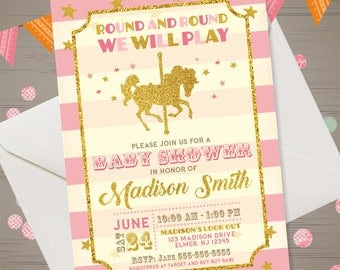 Carousel Baby Shower Invitation Pink Gold Carousel Baby Shower Invitation Glitter Carousel Baby Shower Invite Carnival Baby Shower Pastel