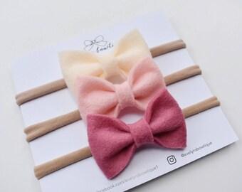 Felt Bow Set | baby headband bows, baby hair clips, baby hair accessories, baby headband set, hair bows, newborn headband, baby shower gift