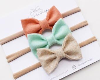 Felt Bow Set | baby headband bows, baby hair clips, baby hair accessories, baby headband set, hair bows, newborn headband, baby hair clips